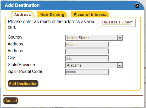 Entering an address has never been easier now with our new Add Destination interface.